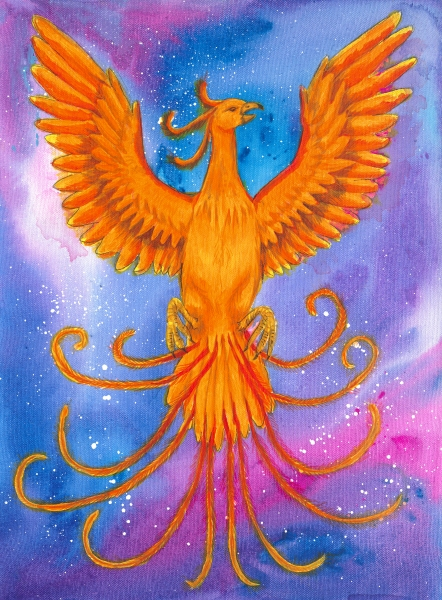 A phoenix flying through the cosmos.