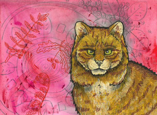 Portrait of a wildcat on a decorative background.