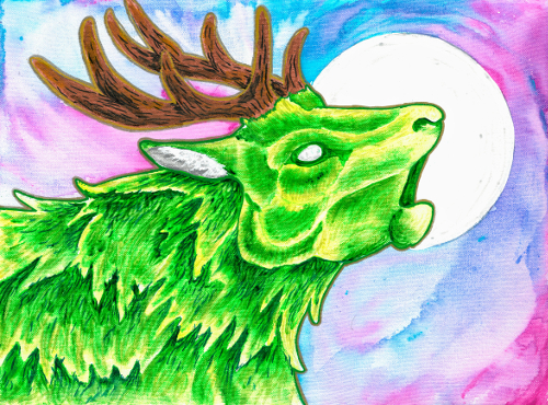A green stag bellowing in the night
